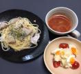 2017.4.26カツオのペペロンチーニ ポテトサラダ アーティチョークのトマトスープ